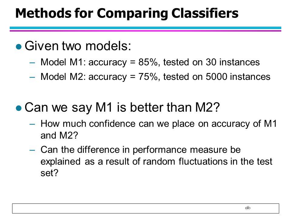 Methods for Comparing Classifiers