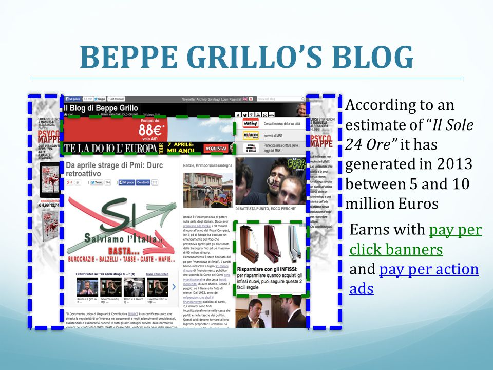 BEPPE GRILLO'S BLOG According to an estimate of Il Sole 24 Ore it has generated in 2013 between 5 and 10 million Euros.