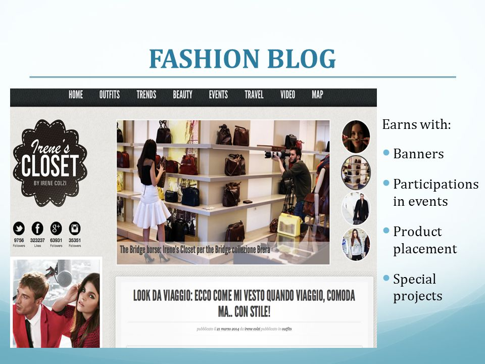 FASHION BLOG Earns with: Banners Participations in events