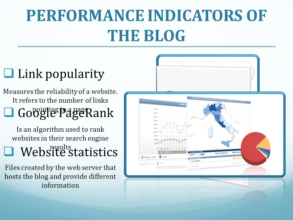 PERFORMANCE INDICATORS OF THE BLOG
