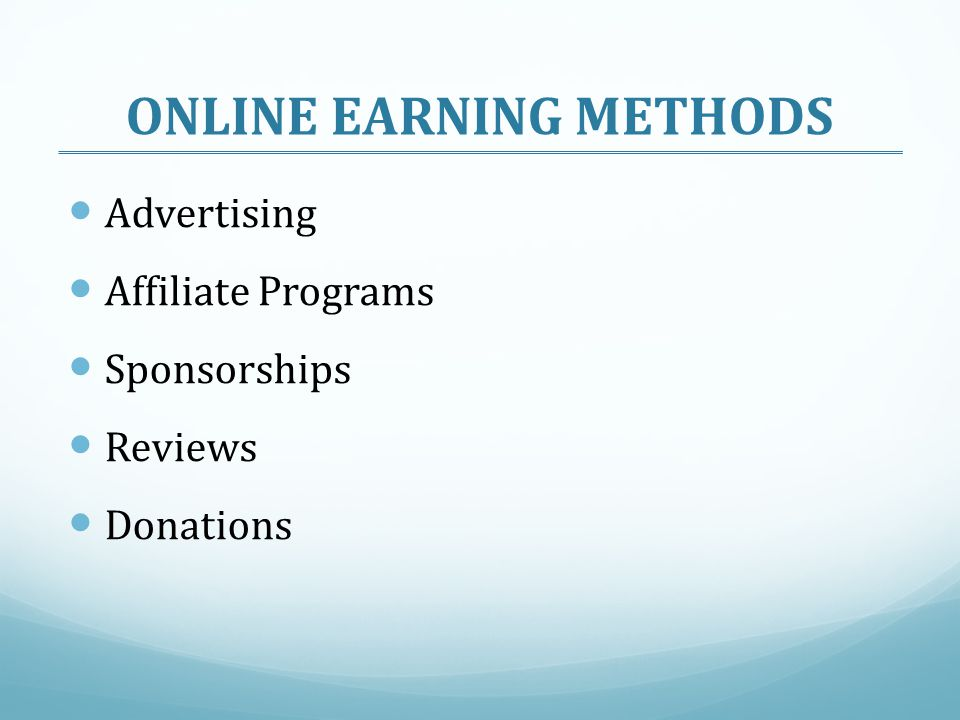 ONLINE EARNING METHODS