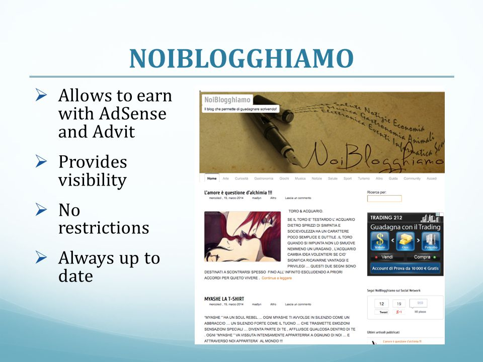 NOIBLOGGHIAMO Allows to earn with AdSense and Advit
