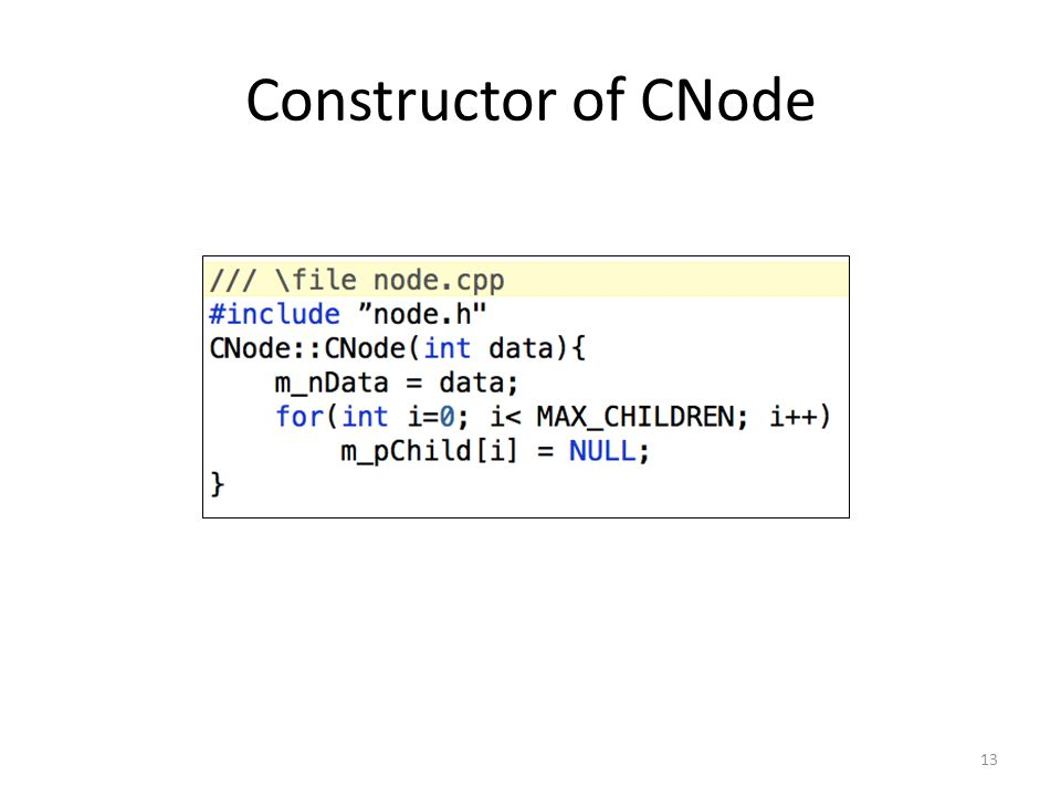 Constructor of CNode