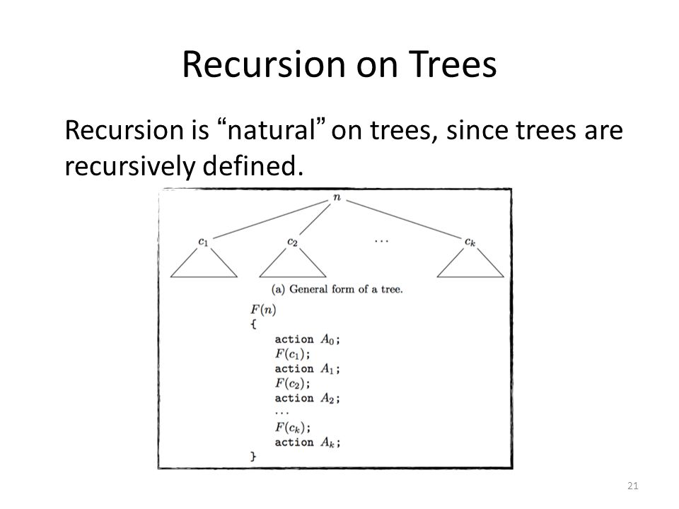 Recursion on Trees Recursion is natural on trees, since trees are recursively defined.