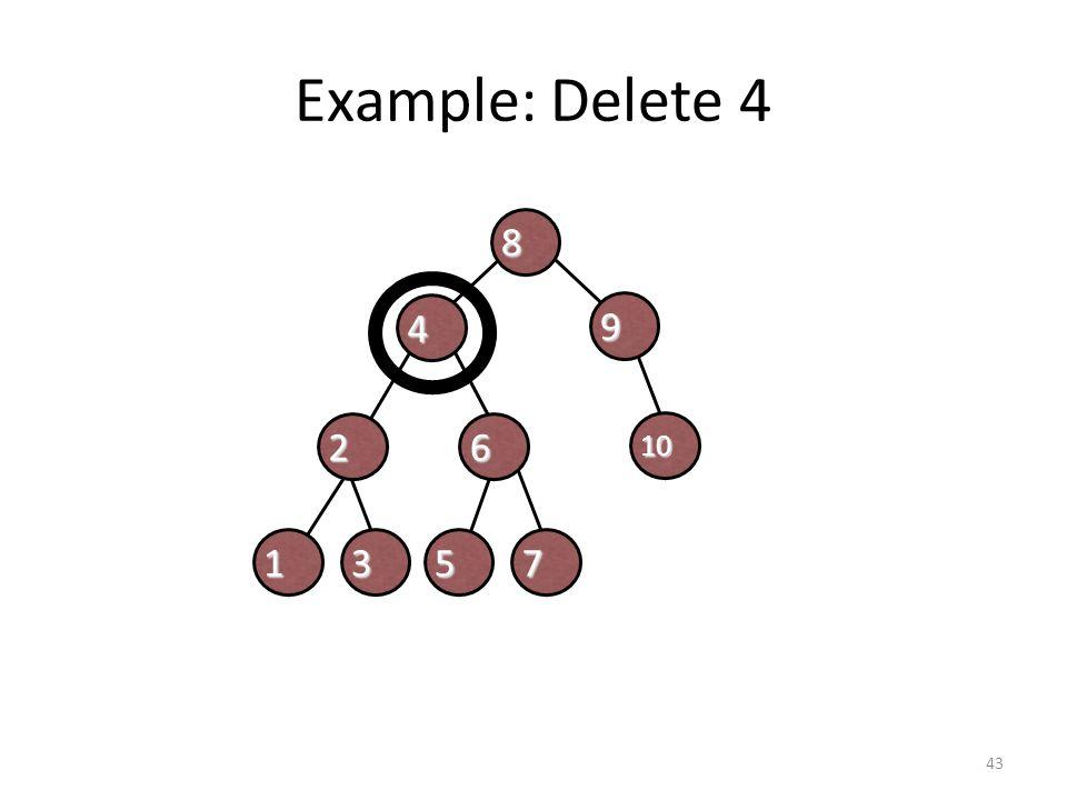 Example: Delete 4 8 9 4 10 2 6 1 3 5 7