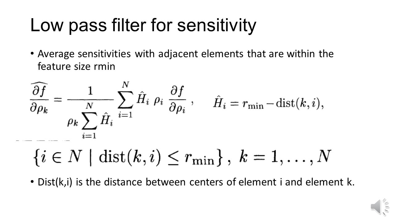 Low pass filter for sensitivity
