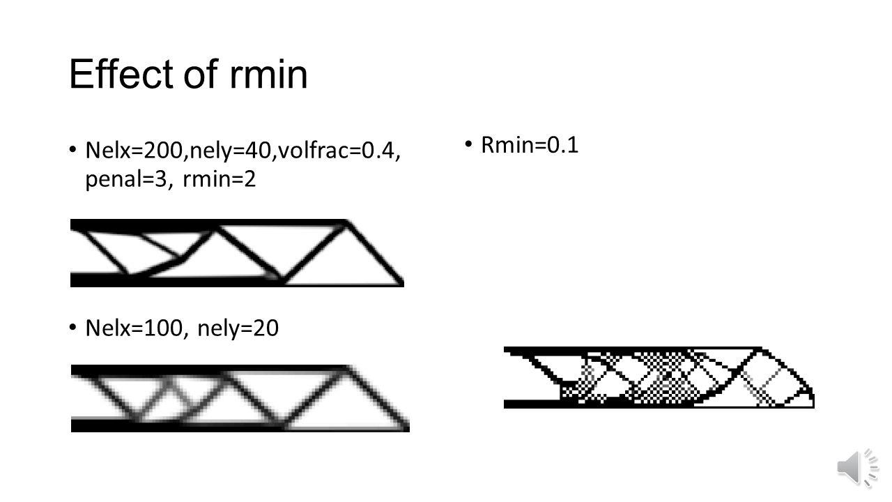 Effect of rmin Rmin=0.1 Nelx=200,nely=40,volfrac=0.4, penal=3, rmin=2