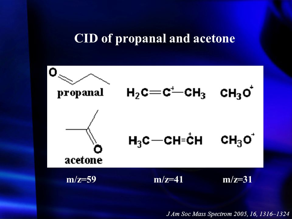 CID of propanal and acetone