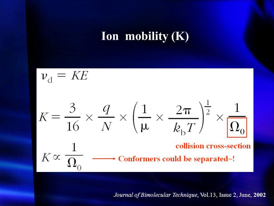 Ion mobility (K) Journal of Bimolecular Technique, Vol.13, Issue 2, June, 2002