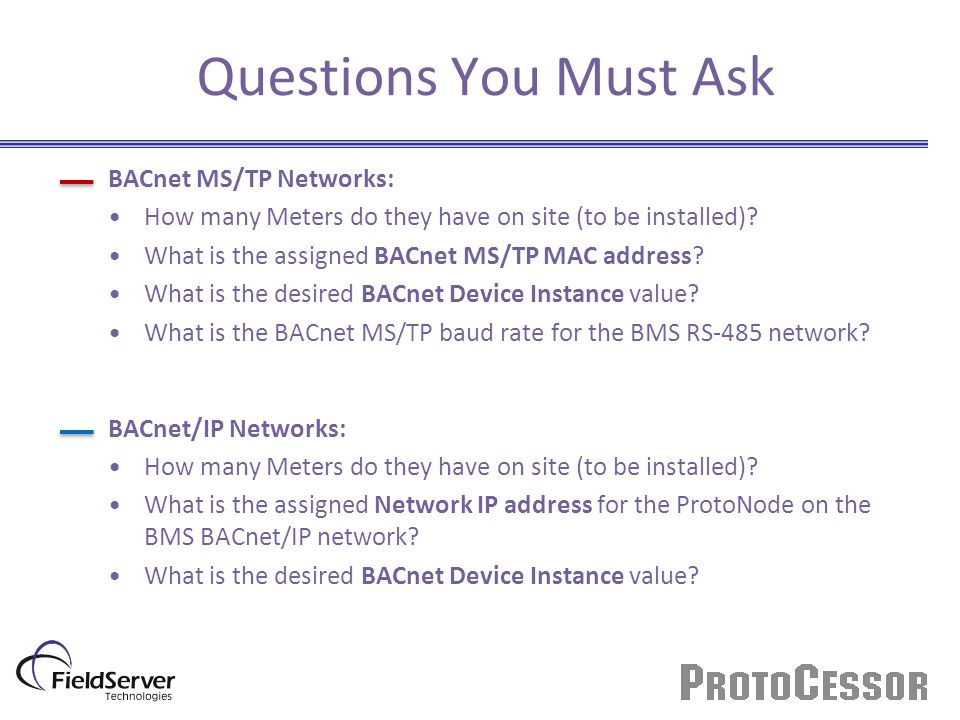 Questions You Must Ask BACnet MS/TP Networks: