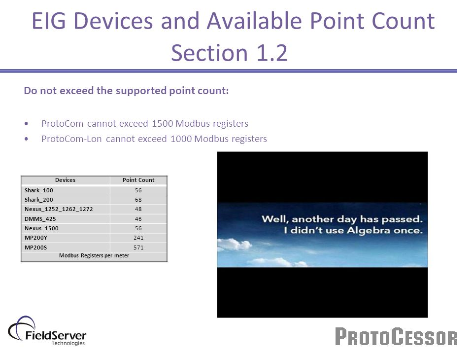 EIG Devices and Available Point Count Section 1.2