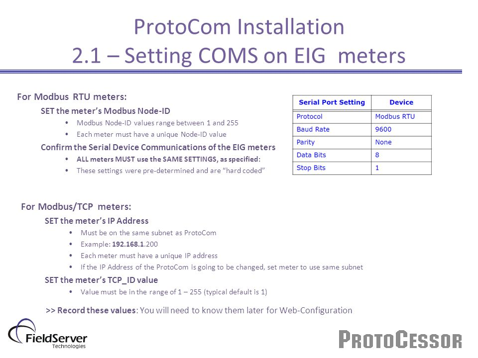 ProtoCom Installation 2.1 – Setting COMS on EIG meters