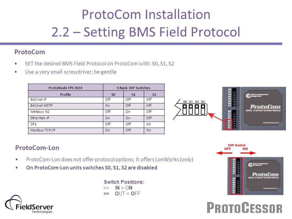 ProtoCom Installation 2.2 – Setting BMS Field Protocol