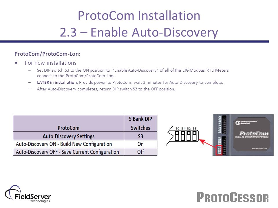 ProtoCom Installation 2.3 – Enable Auto-Discovery