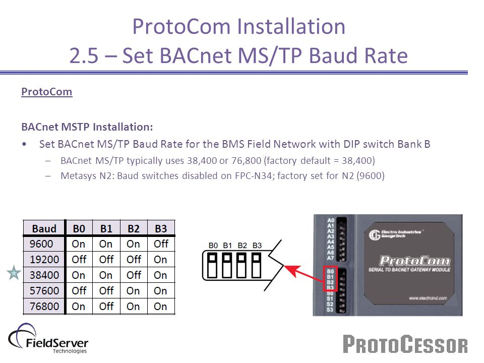 ProtoCom Installation 2.5 – Set BACnet MS/TP Baud Rate