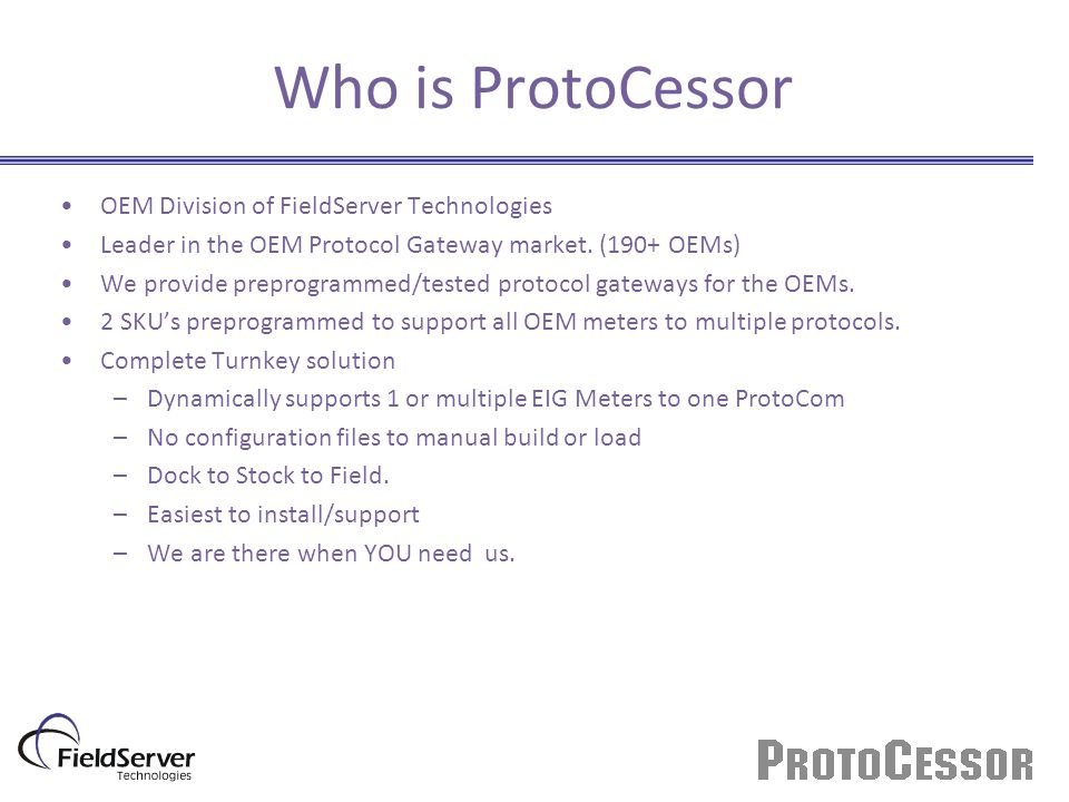 Who is ProtoCessor OEM Division of FieldServer Technologies