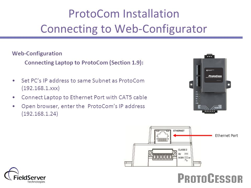 ProtoCom Installation Connecting to Web-Configurator