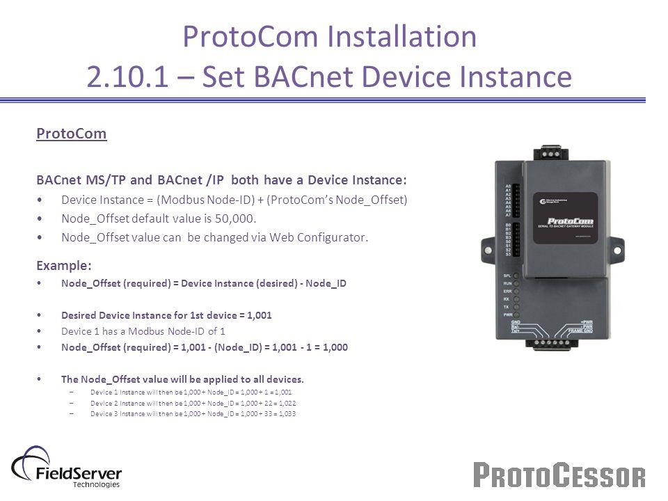 ProtoCom Installation 2.10.1 – Set BACnet Device Instance