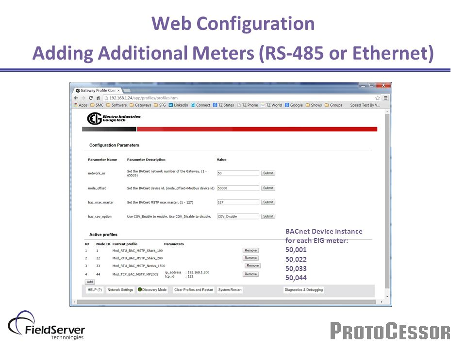 Web Configuration Adding Additional Meters (RS-485 or Ethernet)