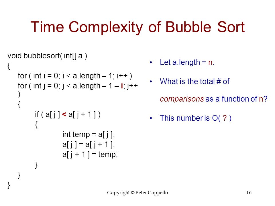 Time Complexity of Bubble Sort