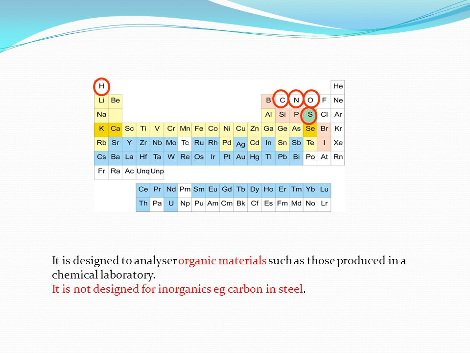 It is designed to analyser organic materials such as those produced in a chemical laboratory.