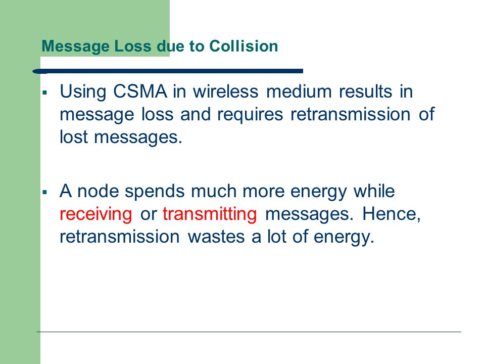 Message Loss due to Collision