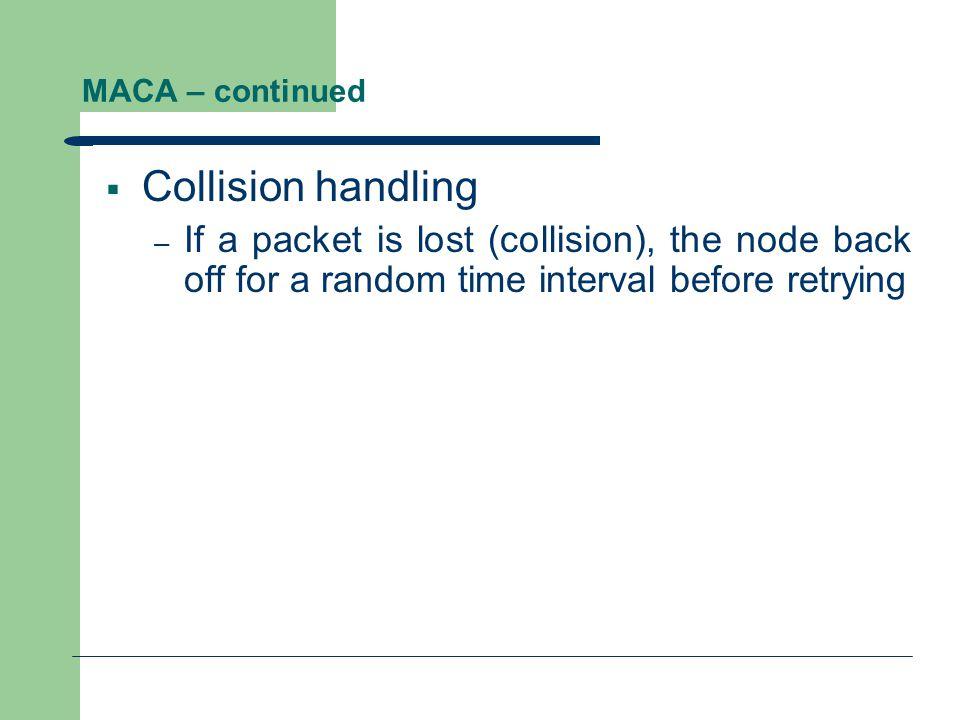 MACA – continued Collision handling.