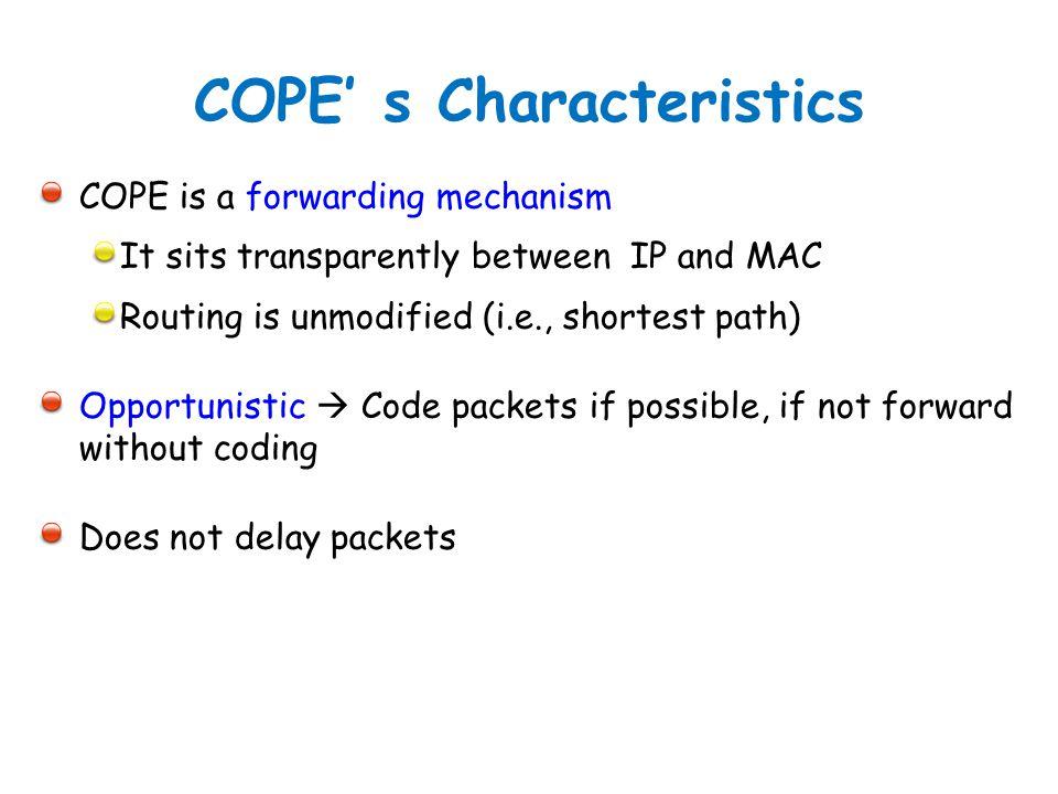 COPE' s Characteristics