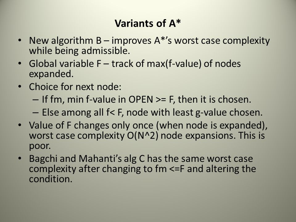 Variants of A* New algorithm B – improves A*'s worst case complexity while being admissible.