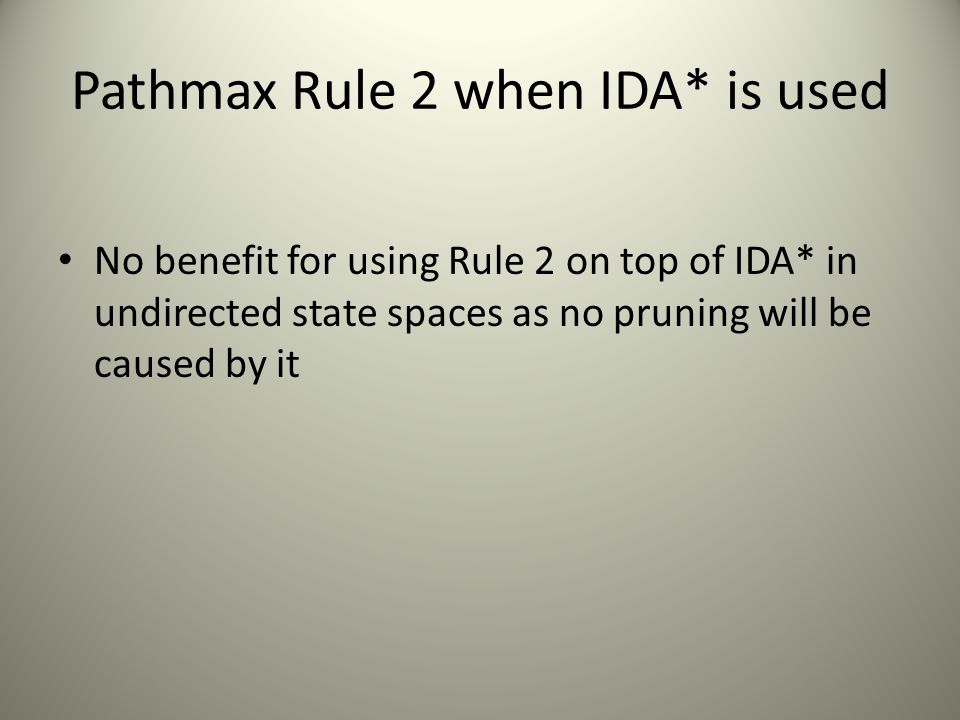 Pathmax Rule 2 when IDA* is used
