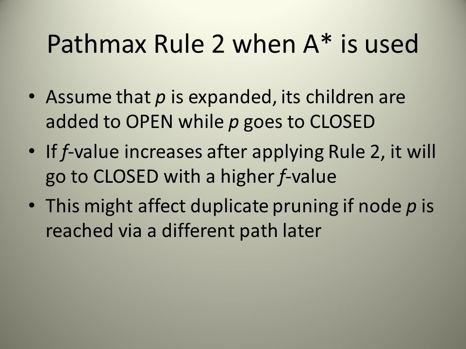 Pathmax Rule 2 when A* is used