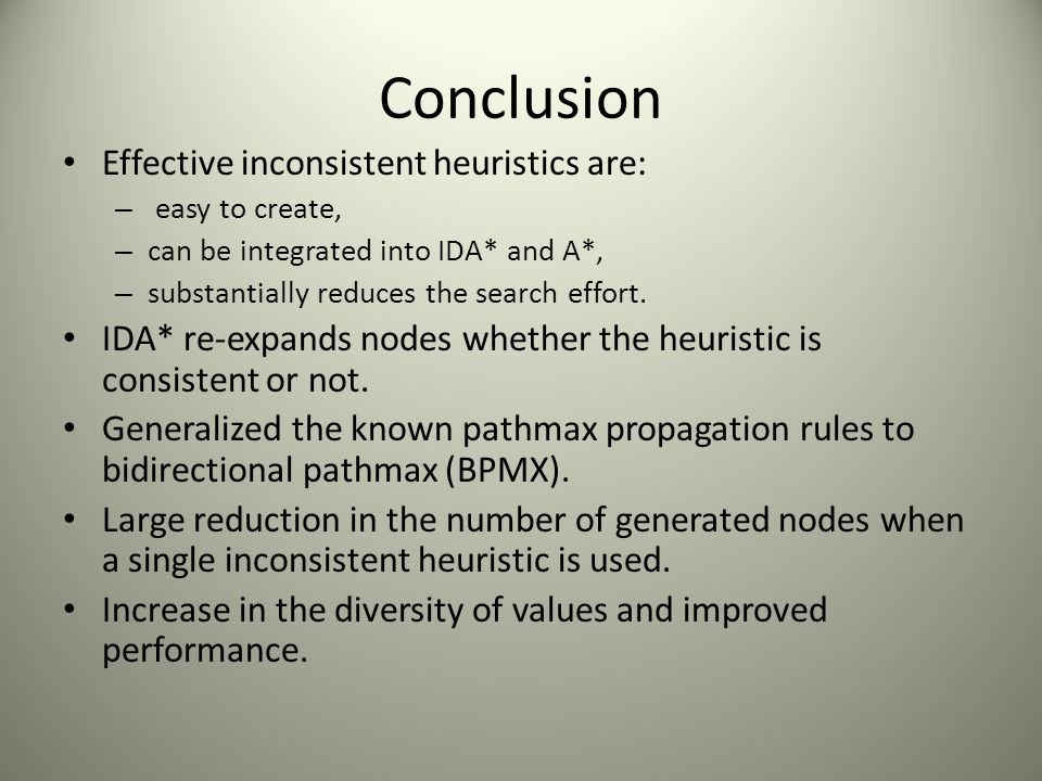 Conclusion Effective inconsistent heuristics are: