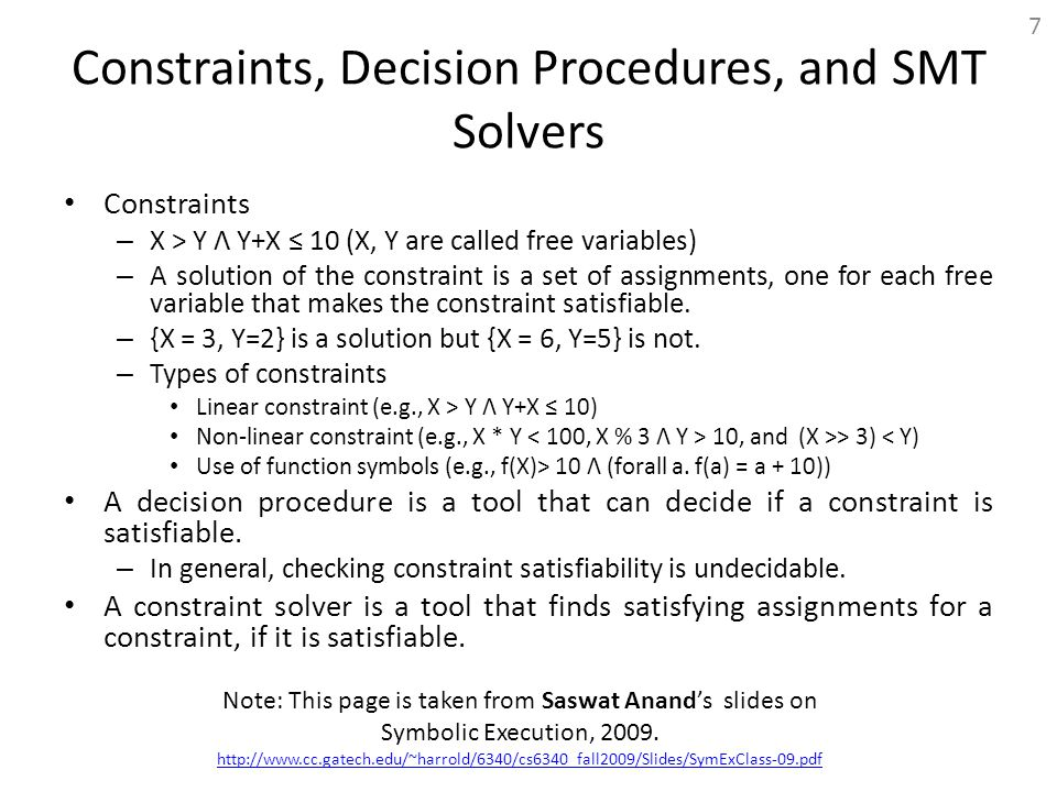 Constraints, Decision Procedures, and SMT Solvers