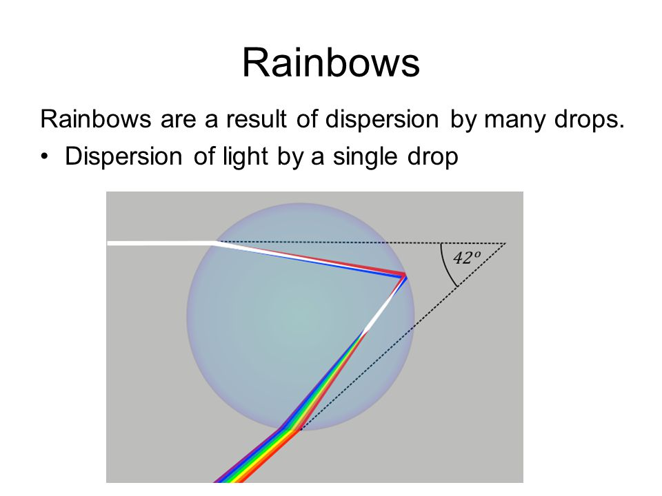Rainbows Rainbows are a result of dispersion by many drops.