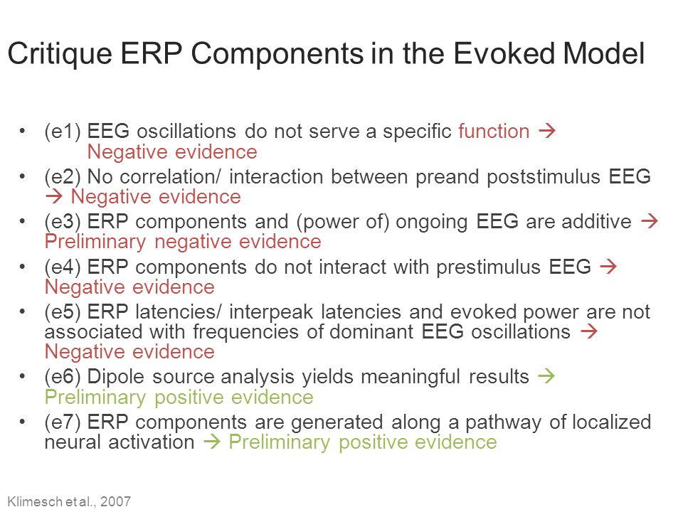 Critique ERP Components in the Evoked Model