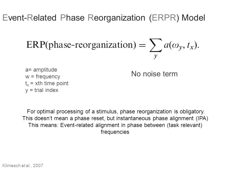 Event-Related Phase Reorganization (ERPR) Model