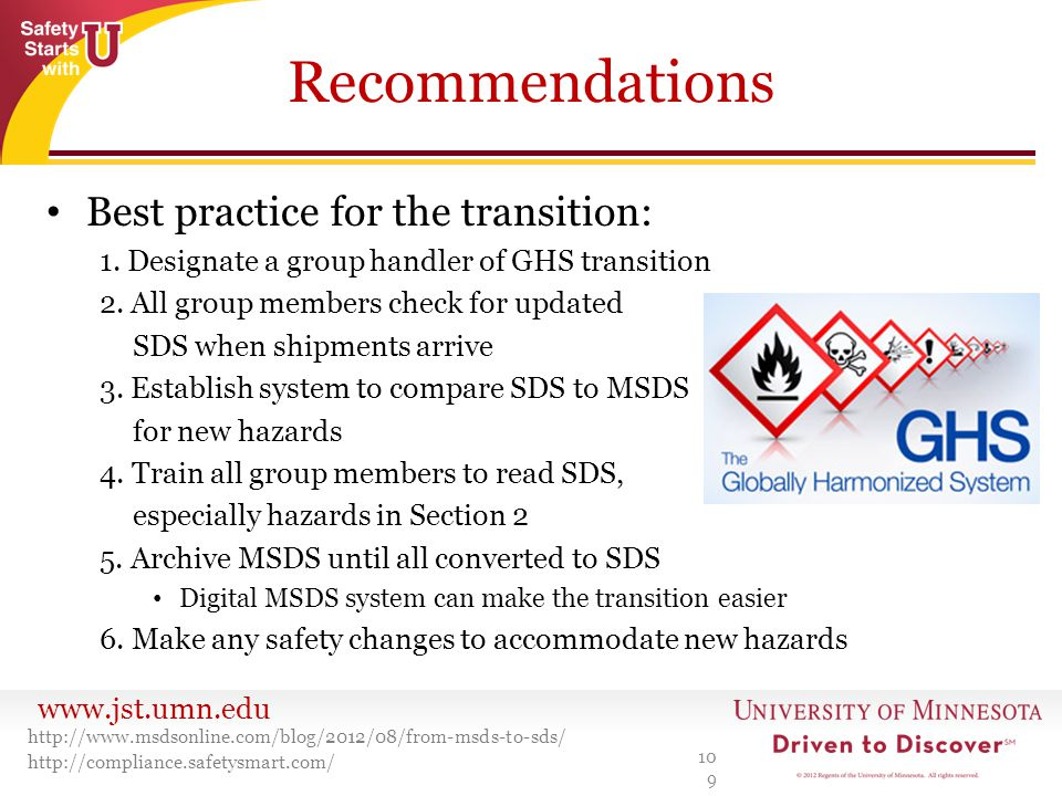 Recommendations Best practice for the transition: