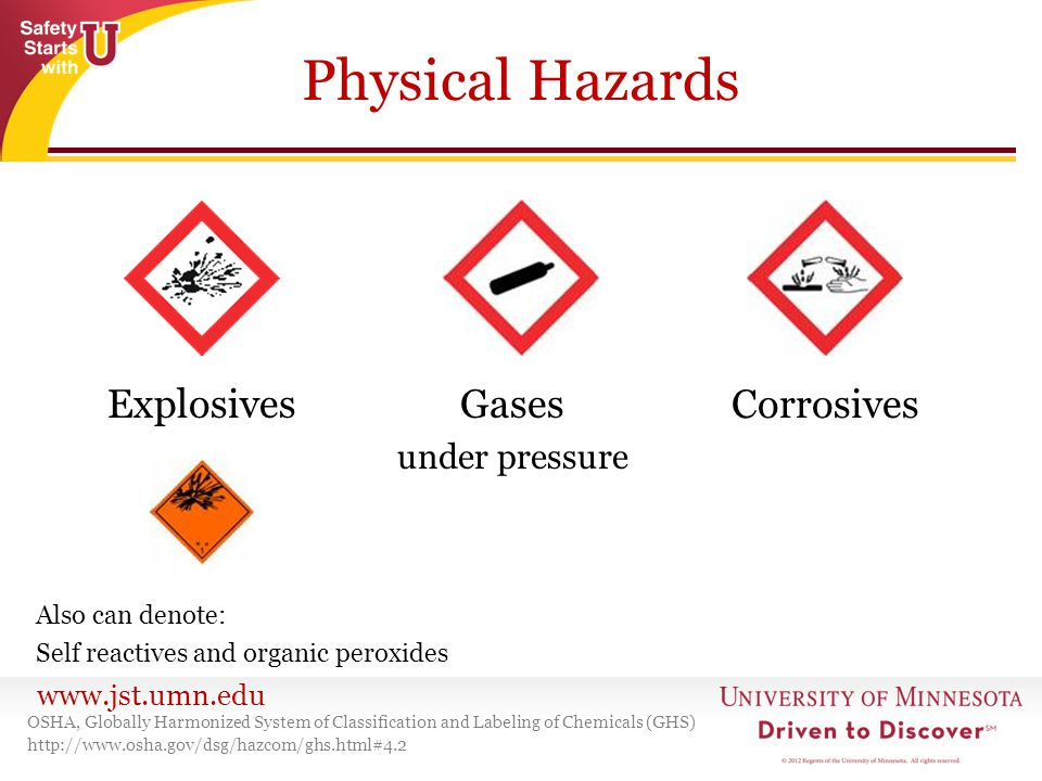 Physical Hazards Explosives Gases Corrosives under pressure