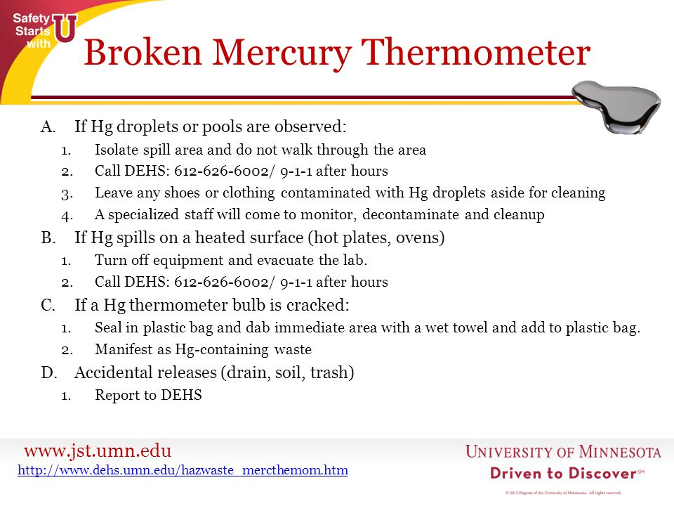 Broken Mercury Thermometer