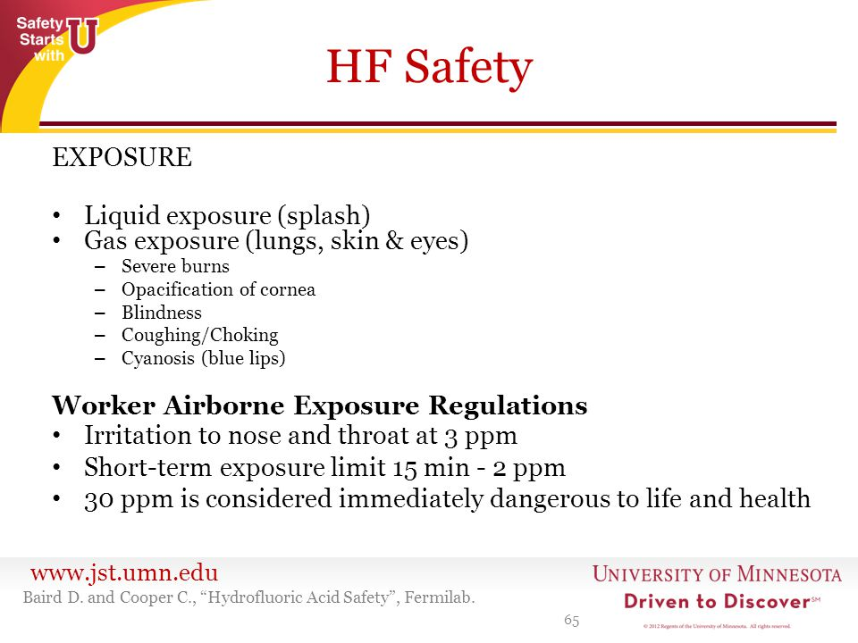 HF Safety EXPOSURE Liquid exposure (splash)