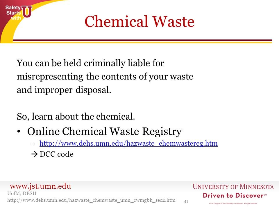 Chemical Waste Online Chemical Waste Registry