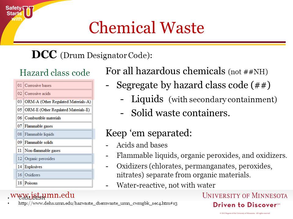 Chemical Waste DCC (Drum Designator Code):