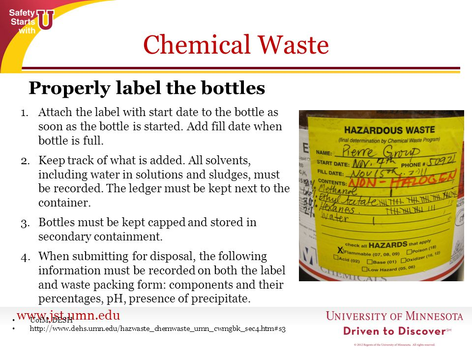 Chemical Waste Properly label the bottles