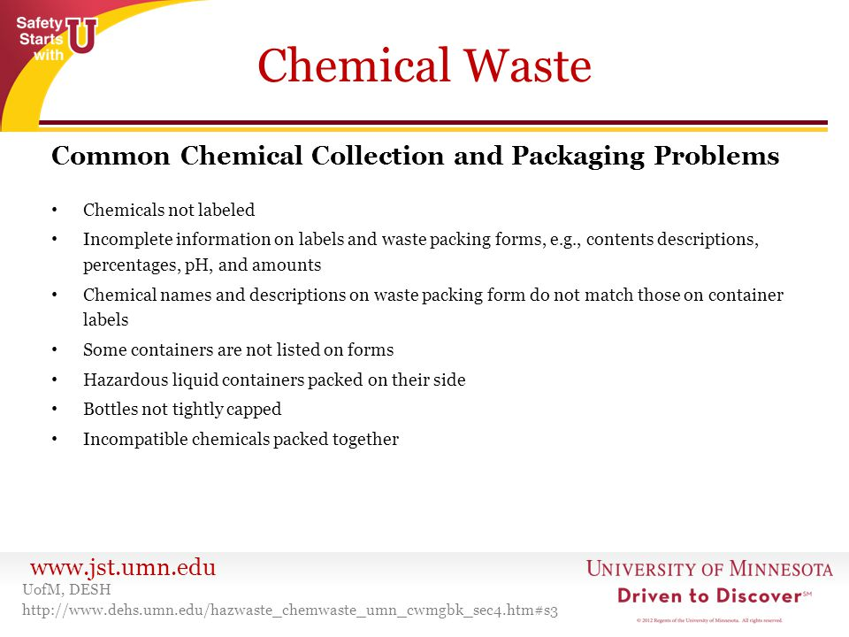 Chemical Waste Common Chemical Collection and Packaging Problems