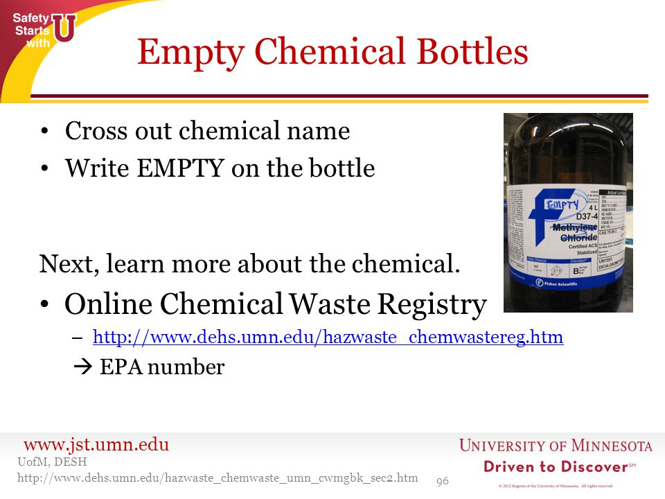 Empty Chemical Bottles
