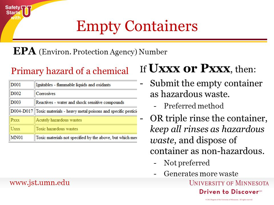 Empty Containers EPA (Environ. Protection Agency) Number