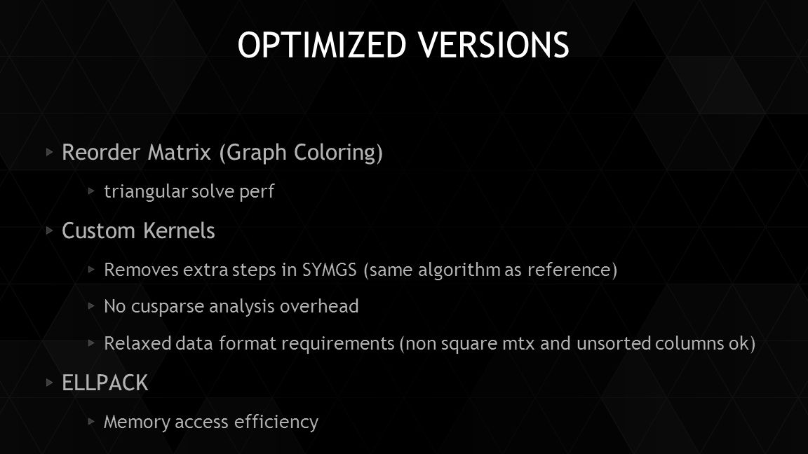 OptimizED versions Reorder Matrix (Graph Coloring) Custom Kernels