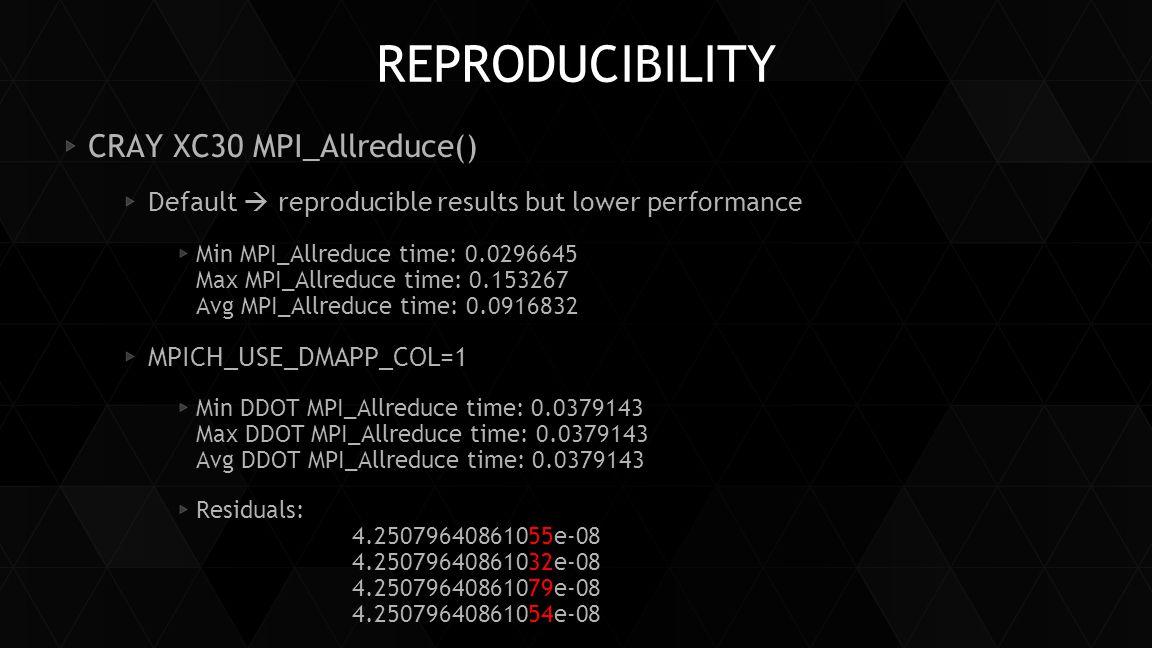 Reproducibility CRAY XC30 MPI_Allreduce()