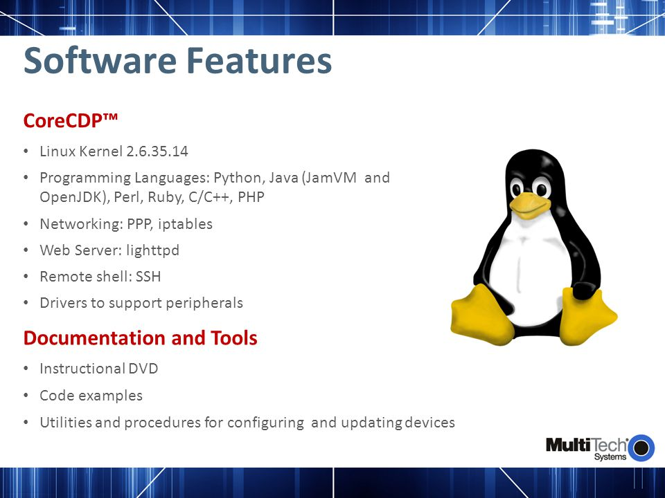 Software Features CoreCDP™ Documentation and Tools