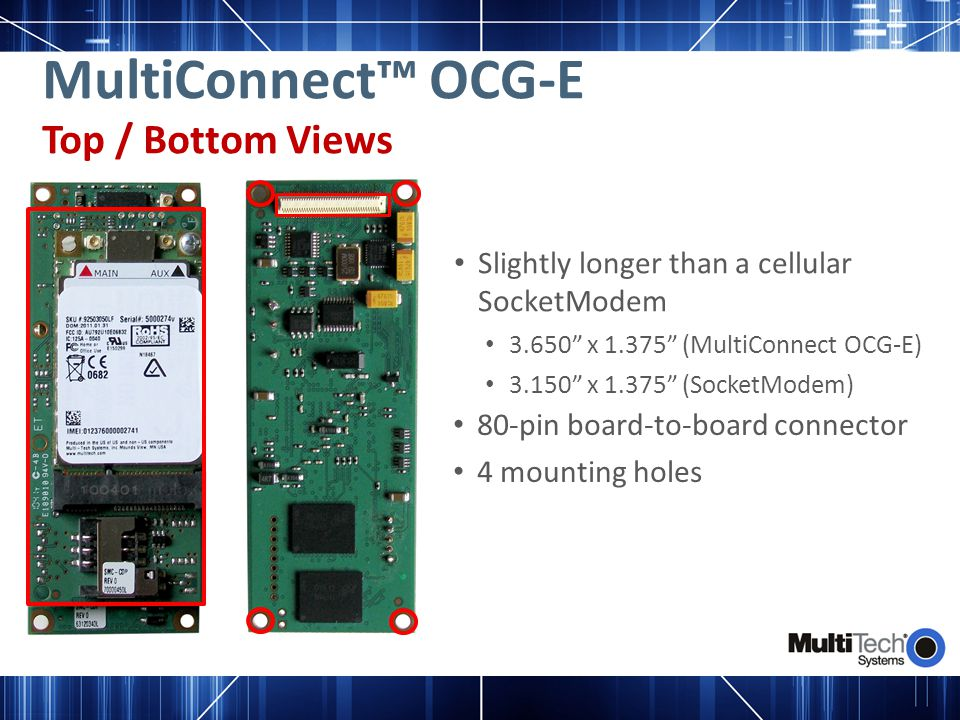 MultiConnect™ OCG-E Top / Bottom Views